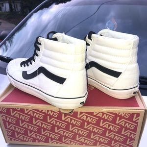 White High Tops Vans With Black Stripe